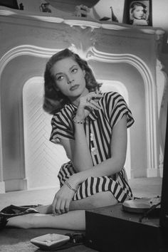 Lauren Bacall in stripes